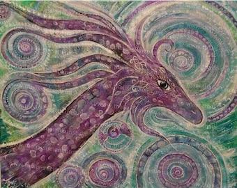 "Original ""Dragon light hypnosis"" painting canvas"