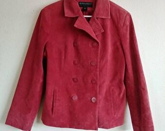 Vintage Genuine Leather Lipstick Red Blazer Jacket