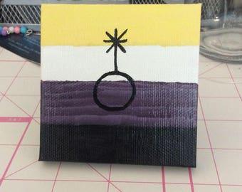 Nonbinary pride flag mini canvas