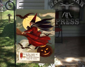 Garden Flag, Victorian Halloween Card, Witch in Red