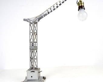 Rare machine age crane lamp table art industrial steampunk art deco 1930