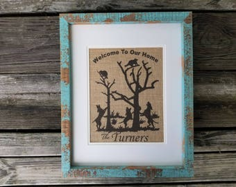 Coon Hunting Family Tree, Burlap, free shipping, most popular item