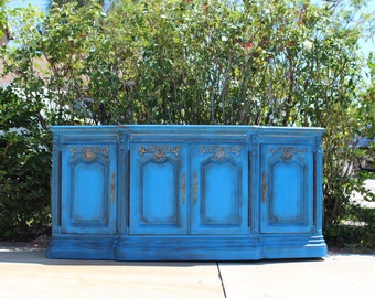 Drexel  Vintage Credenza Buffet Side Board TV Console Boho, Shabby Chic, Cottage Painted Furniture Blue Gold Leaf Trim