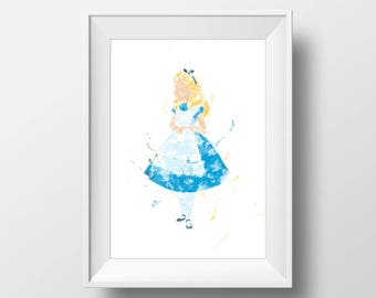Wall Art Watercolor Disney Alice Print,Alice in Wonderland Print,Watercolor Disney,Nursery Print,Printable Disney,Baby Gift,Room Decor,Girls