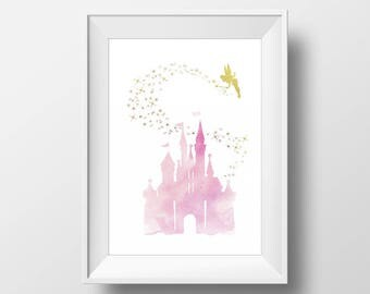 Wall Art Watercolor Disney Castle and Tinker Bell Print,Watercolor Disney,Nursery Print,Gold Disney,Baby Gift,Room Decor,Party Decor