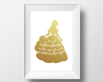 Wall Art Gold Foil Digital Princess Belle Print,Beauty and the Beast Disney Quote Print,Printable Foil ,Glitter,Nursery Print,Baby Gift