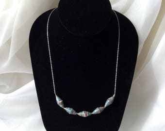 Blue 5 Bead Necklace