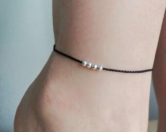 Silk anklet. Minimalist anklet. SilverAnklet. Sterling silver bead anklet. Modern anklet. Cord anklet. Rope anklet. Black anklet.