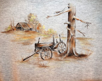 Old Wagon at the Farm, hand-painted on Gray Sweatshirt