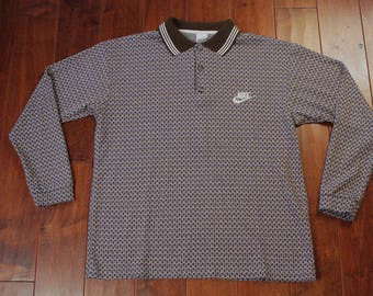 Vintage Nike Polo Rugby Longsleeve USA 90s Mens Large Multi Color Top Swoosh