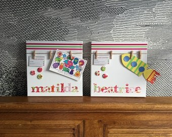"Personalised decorative peg board - pair - with button motif - 12"" x 12"" - matilda, beatrice"