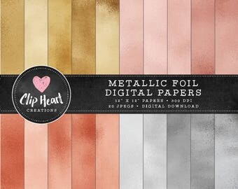 Metallic Foil Papers, gold foil digital papers, Commercial use, Digital Paper, scrapbooking paper, silver papers, rosegold papers, copper