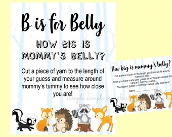 How Big is Mommy's Belly Game, Gender Reveal Baby Shower, Boy or Girl Sign, Printable, Baby Shower Party, Woodland Design style