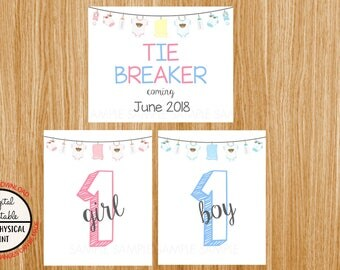 Tie Breaker Pregnancy Announcement Sign, Pregnancy Reveal, Printable, Pink or Blue, Instant Download, Boy and Girl Sign, due June 2018