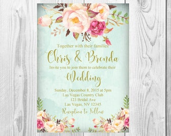 Vintage Gold Floral Boho Wedding Invitation, Save the Date, RSVP Card, Thank You Card Sign, Old Rustic Floral Boho Wedding Invite Set