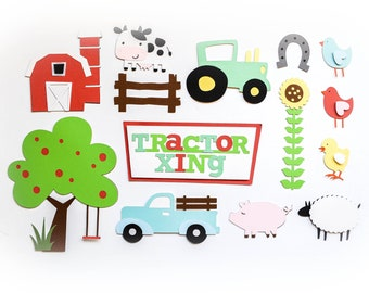 Barnyard Animals Embellishment Set - Boy Scrapbook/Card Making - Vintage Truck, Apple Tree, barn, Cow, Pig, Sheep, Tractor