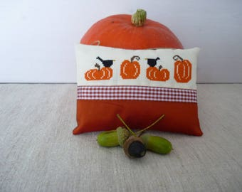 Door cushion fabric and decor autumn cross stitch halloween pumpkin and crows embroidered decorative pillow to hang cross stitch