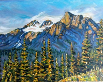 Original Oil painting, Canada Mountains, 1202133, 19.7x27.5inch