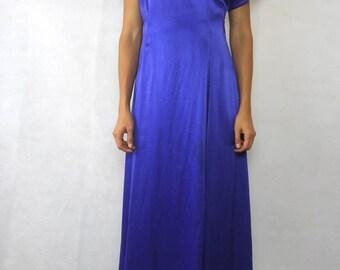 VINTAGE 80s Regal Blue Lace Back Dress Size XS 8