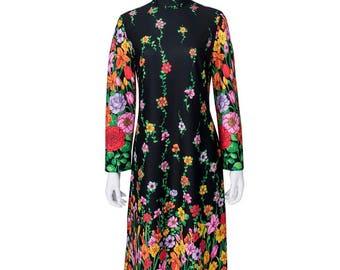 1970's Rainbow Flower Black Maxi Dress