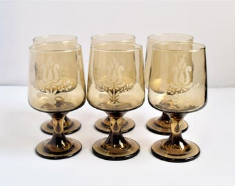 "Set of 6  large (5-7/8"" tall) smoked-amber Pfaltzgraff Goblets / Wine Glasses"