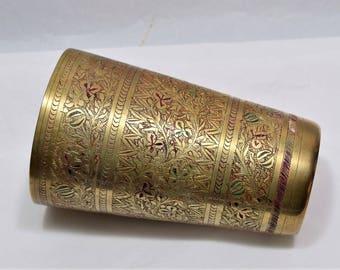Vintage Brass Drinking Tumbler/Brass Vase/Brass Decor Made in India