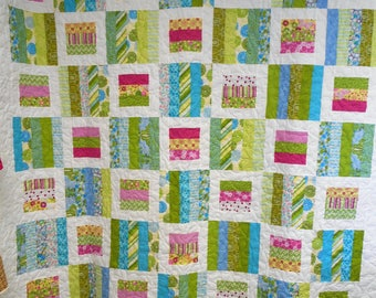 """Quilt, Handmade Full Size Quilt, Fence Rail Pink, Blue and Green Quilt, Bordered Fence Rail Bed Quilt, 78"""" x 85"""""""
