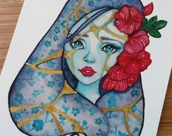 Kintsugi - 5x7 Inch Hand Embellished Art Print