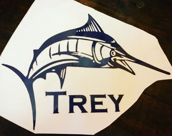 Blue Marlin YETI rambler decal. Fisherman decal for RTIC tumbler. Deepsea Fishing sticker for cup, truck window, laptop, etc.