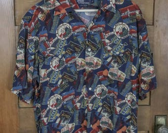 Polo Ralph Lauren Excelsior Hotel of Several Countries Travel Button Up Shirt Size Large