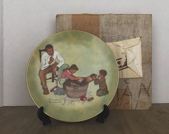 Collectible Norman Rockwell Plate, Washing Our Dog, American Family Series, Norman Rockwell, Limited Edition, 1979, Collectible Plates