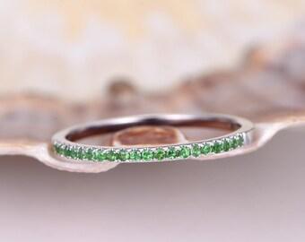 Natural tsavorite wedding band tsavorite ring 14k white gold half eternity ring engagement ring stacking matching band anniversary ring