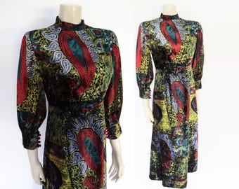 Velvet Maxi Dress, UK10, Handmade Dress, Vintage Clothing, Velvet Dress, Printed Velvet Dress, Womenswear, Fashion, Eveningwear, Maxi Dress