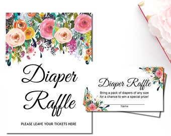 Floral Diaper Raffle Tickets Printable, Diaper Raffle Sign, Floral Baby Shower Games, Girl Baby Shower, INSTANT DOWNLOAD, C17