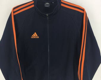 Adidas Trefoil 3 Stripes Sport Classic Vintage Design Skate Sweat Shirt Sweater Varsity Jacket Size M #A773
