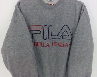 Vintage 90's Fila Biella Italia International Italy Sport Classic Design Skate Sweatshirt Sweater Varsity Jacket Size L #A872