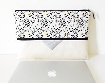 Pocket Rock silver MacBook 13 inch faux leather and silver fabric with geometric patterns