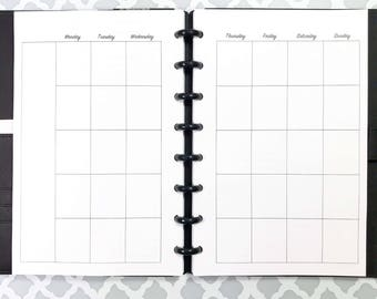 UNDATED Month on Two Pages, Monthly Calendar Inserts for Discbound Planners, ARC Junior, TUL, 8 Disc Planners