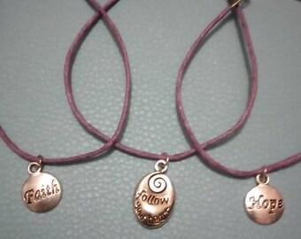 Set of 3 purple, inspirational bracelets