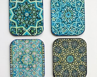 Se of four handmade drink coasters, Drink coasters, colourful coasters