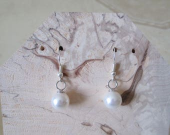 White Pearl and Silver earrings