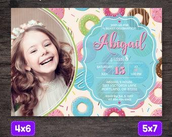 Donut Invitation, Donut Birthday invitation, Donut Birthday Party, Donut Birthday Invite, Printable Donut, Doughnut invitation Girl birthday