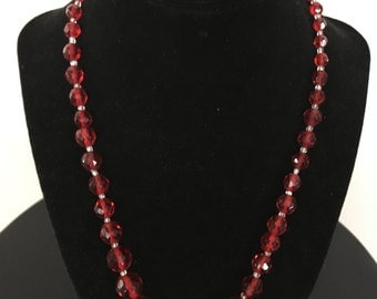 Vintage Red Crystal Bead Necklace