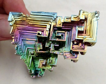 Rainbow Bismuth Crystal 118g Lab Grown Jewelry Display Specimen Educational Metaphysical Metal Healing Stone