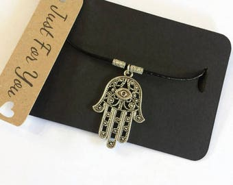 Hamsa Hand Necklace Leather Necklace