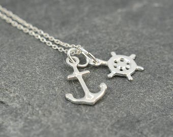 Anchor Necklace, Ships Wheel Necklace, Nautical Necklace, Sterling Silver Necklace, Dainty Necklace,  Gift For Friend,