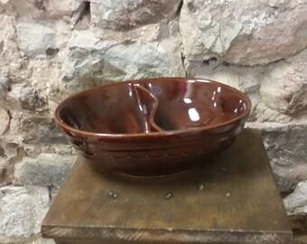 Vintage Mar Crest Stoneware Divided Bowl