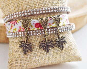 "Bracelet multi-row ""Flower & leaf"" bail"