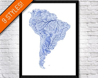 Waterways of South America map   Printable South America map print, South America print, South America art, South America poster wall art