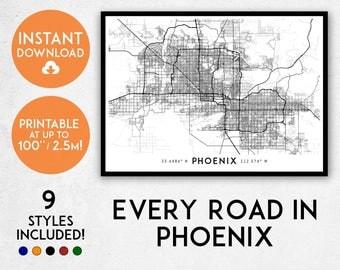 Phoenix map print, Printable Phoenix map art, Phoenix print, Arizona map print, Phoenix art, Phoenix poster, Phoenix wall art, Phoenix gift